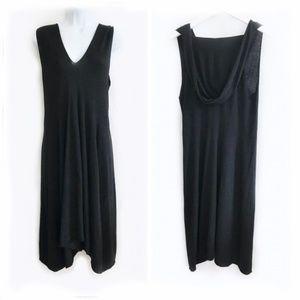 Black mid length dress w/ hood